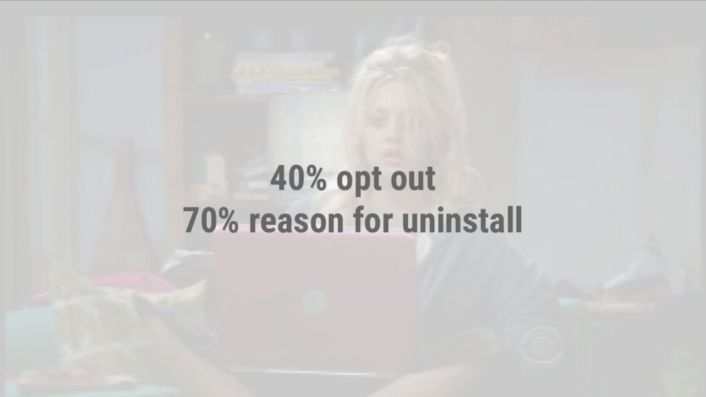 40% opt out 70% reason for uninstall