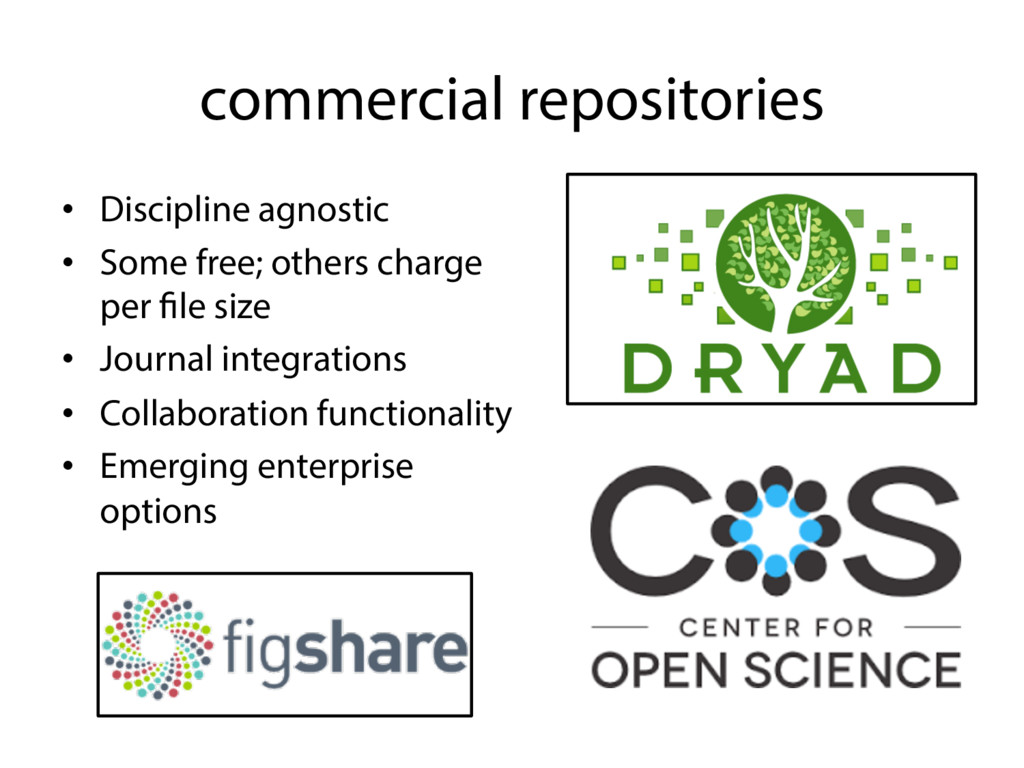 commercial repositories • Discipline agnostic ...