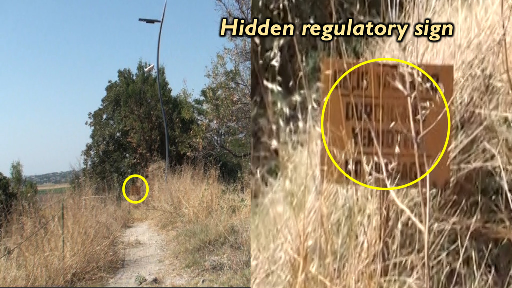 Hidden regulatory sign