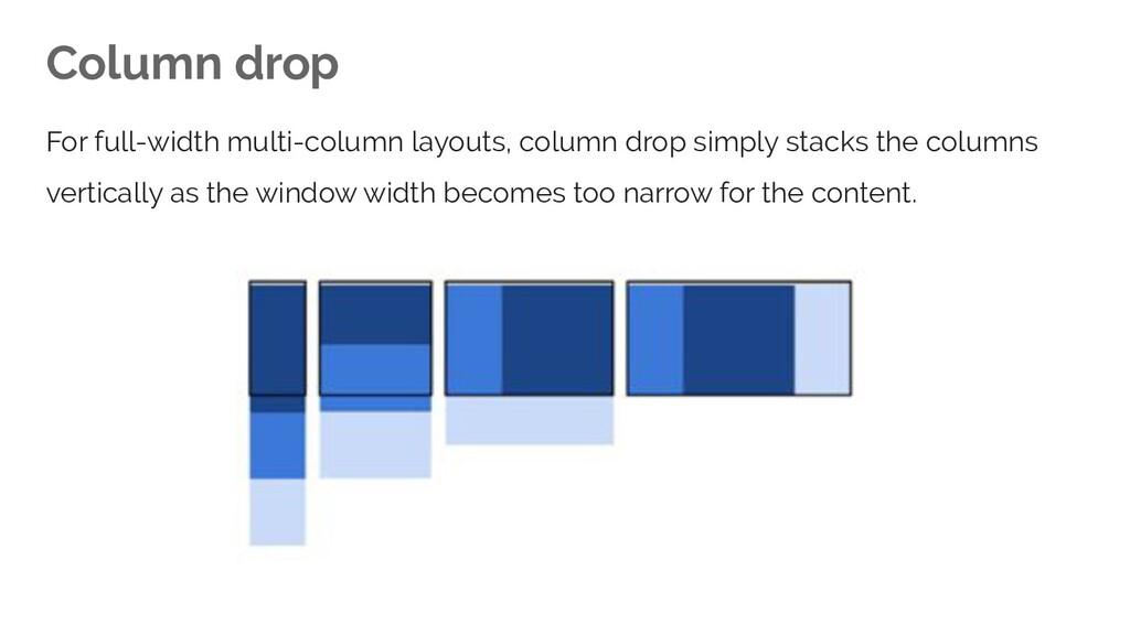 Column drop For full-width multi-column layouts...