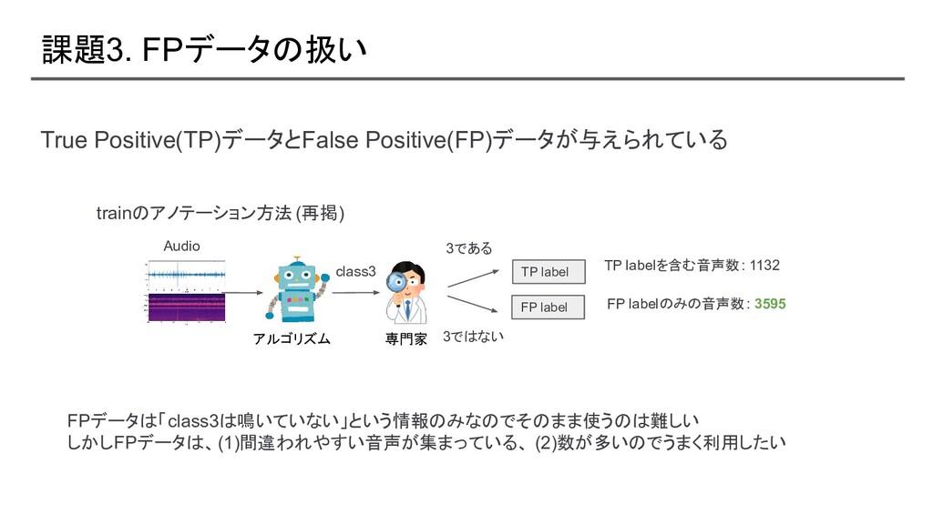 課題3. FPデータの扱い True Positive(TP)データとFalse Positi...