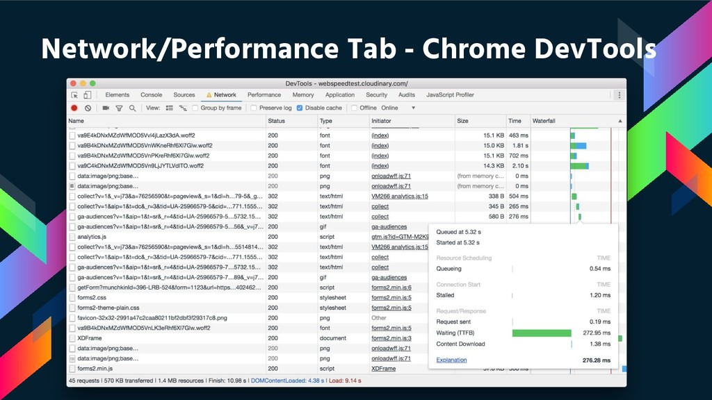 Network/Performance Tab - Chrome DevTools