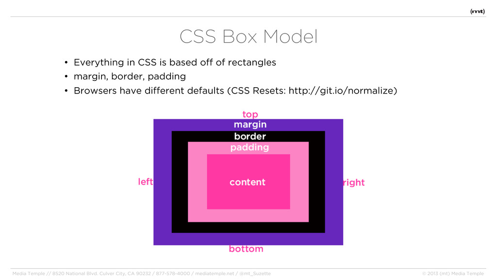 • Everything in CSS is based off of rectangles ...