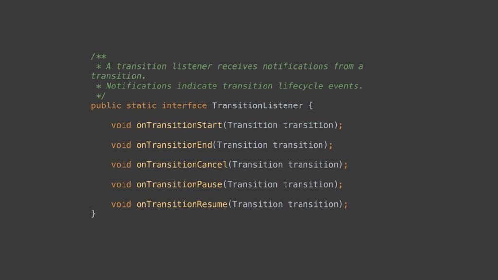 /** * A transition listener receives notificat...