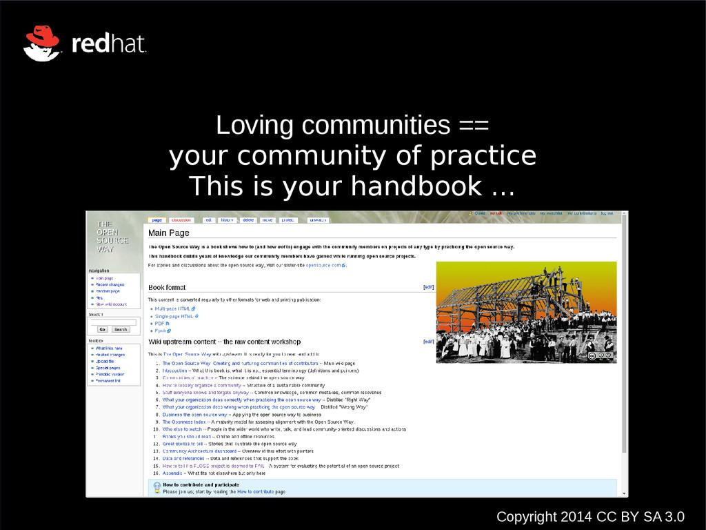 Copyright 2014 CC BY SA 3.0 Loving communities ...