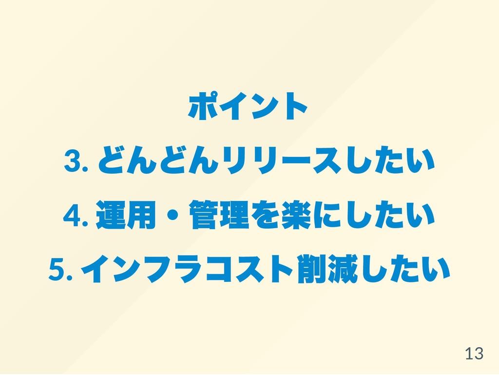ポイント 3. どんどんリリースしたい 4. 運用・管理を楽にしたい 5. インフラコスト削減...