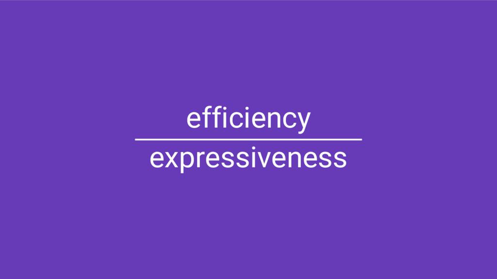 efficiency expressiveness