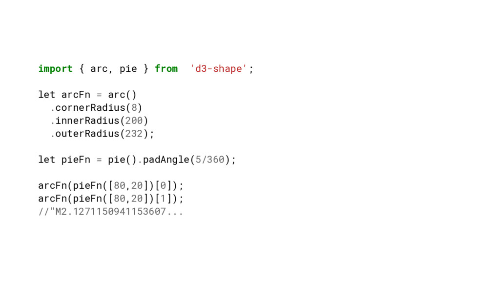 import { arc, pie } from 'd3-shape'; let arcFn ...