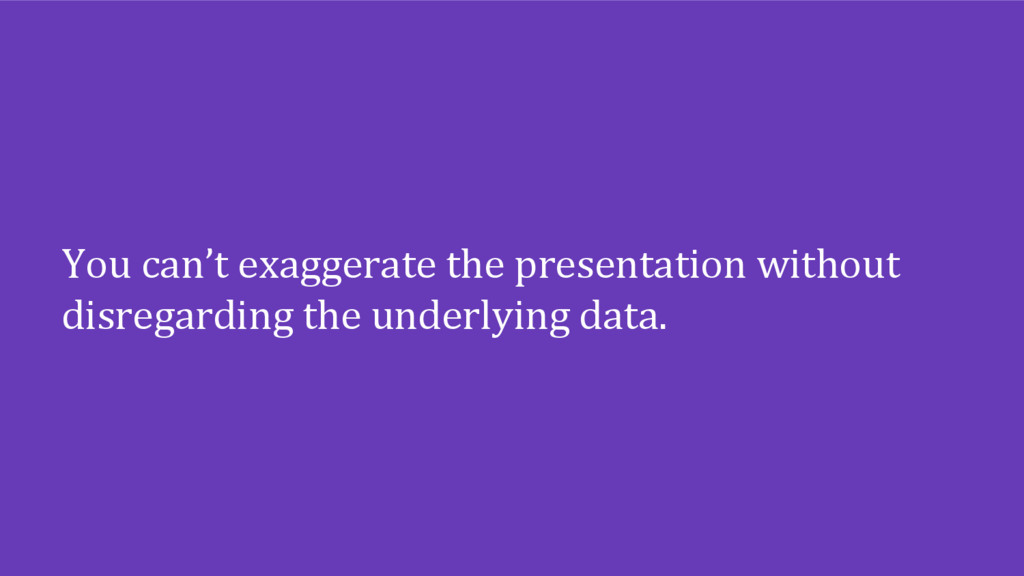 You can't exaggerate the presentation without d...