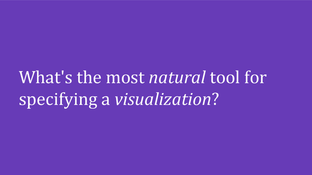 What's the most natural tool for specifying a v...
