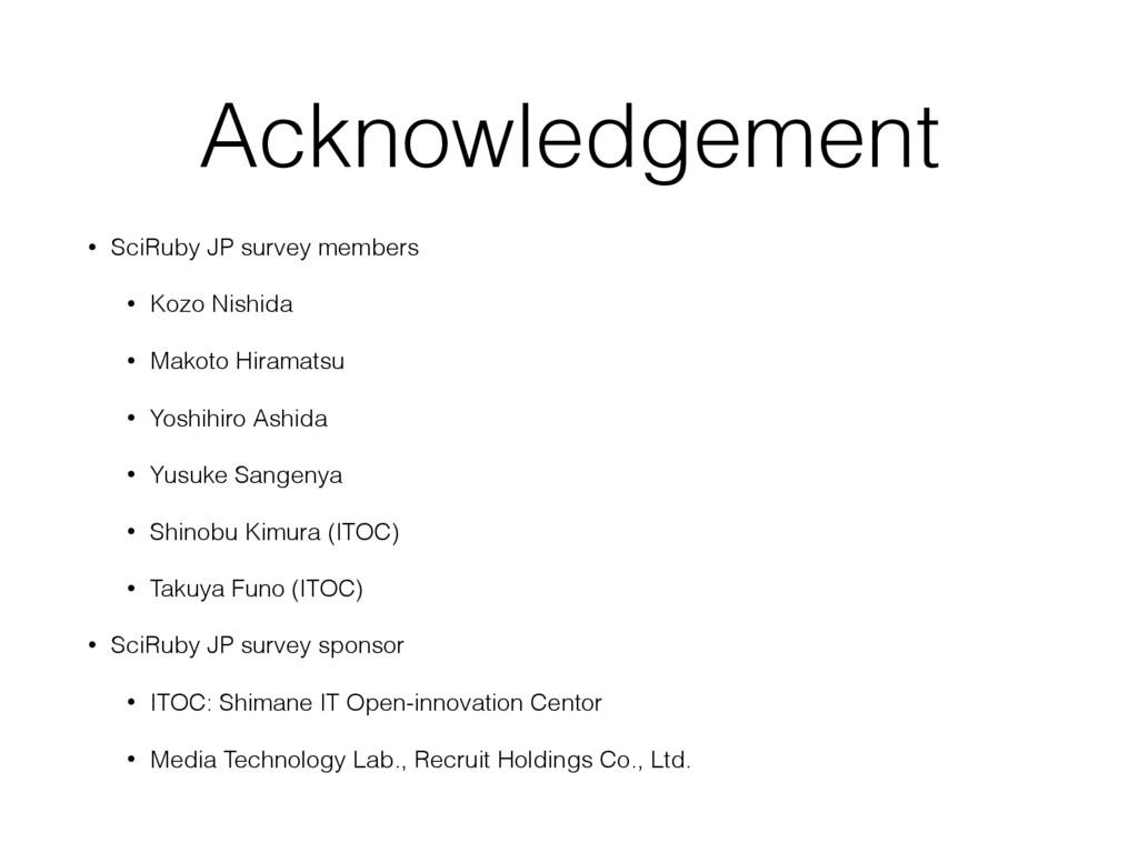 Acknowledgement • SciRuby JP survey members • K...