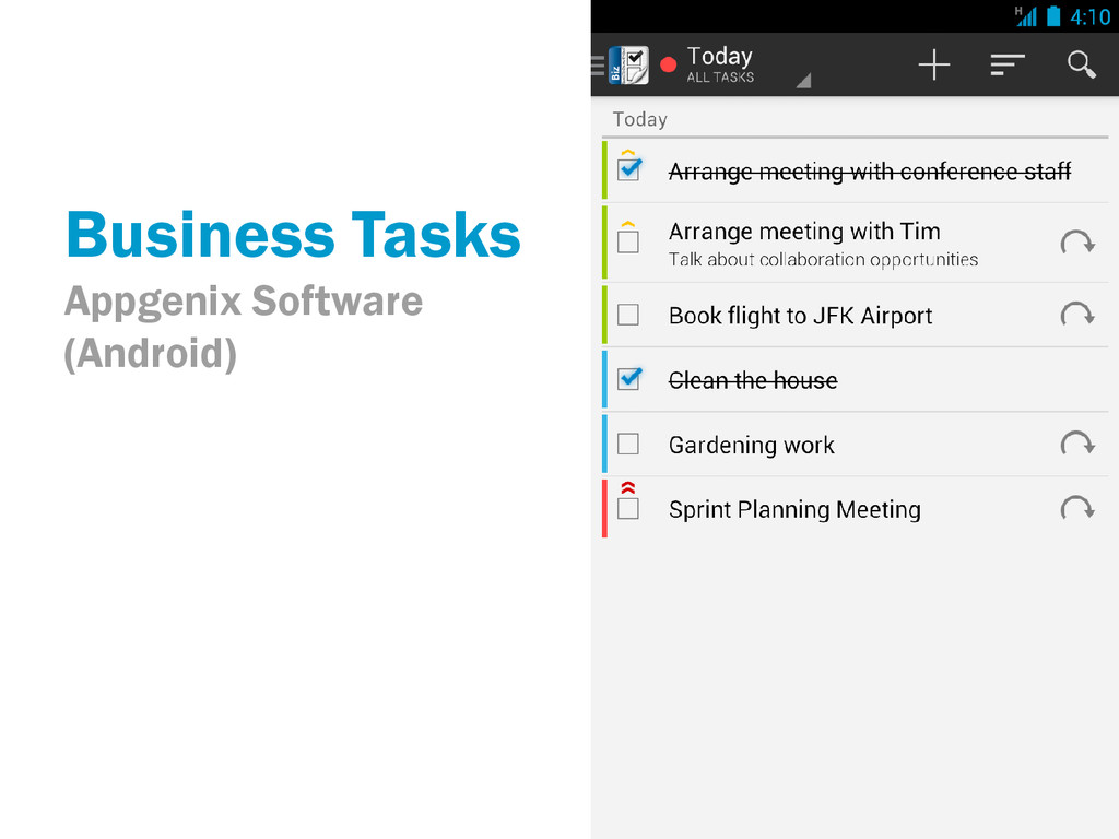 Business Tasks Appgenix Software (Android)