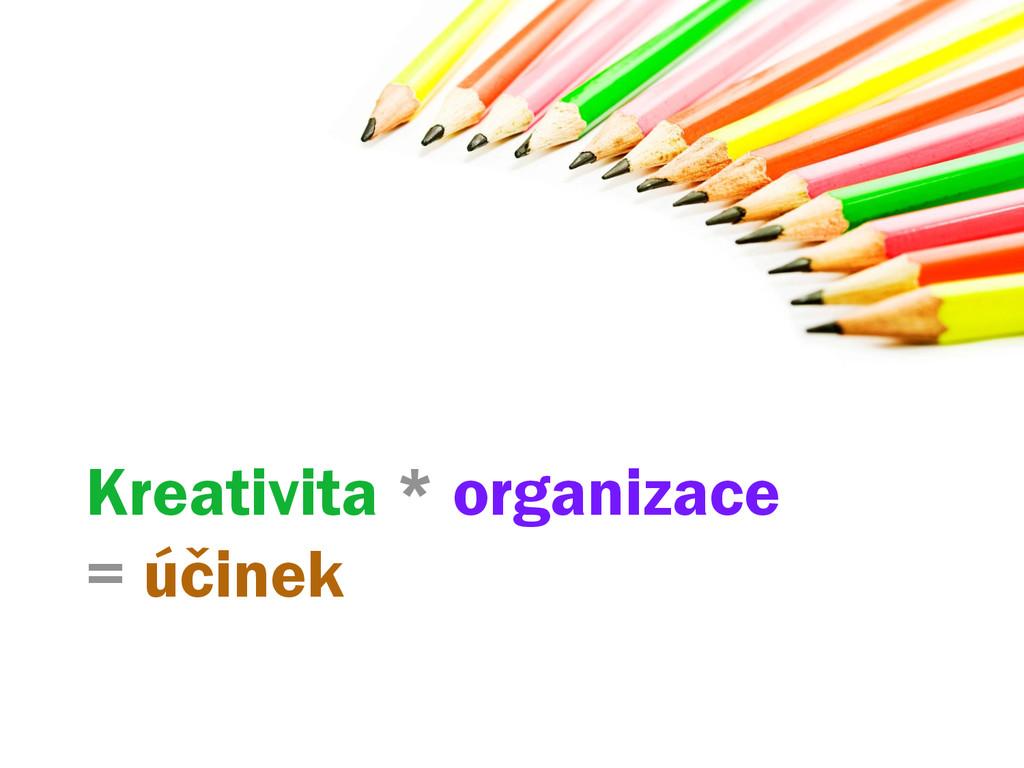 Kreativita * organizace = účinek