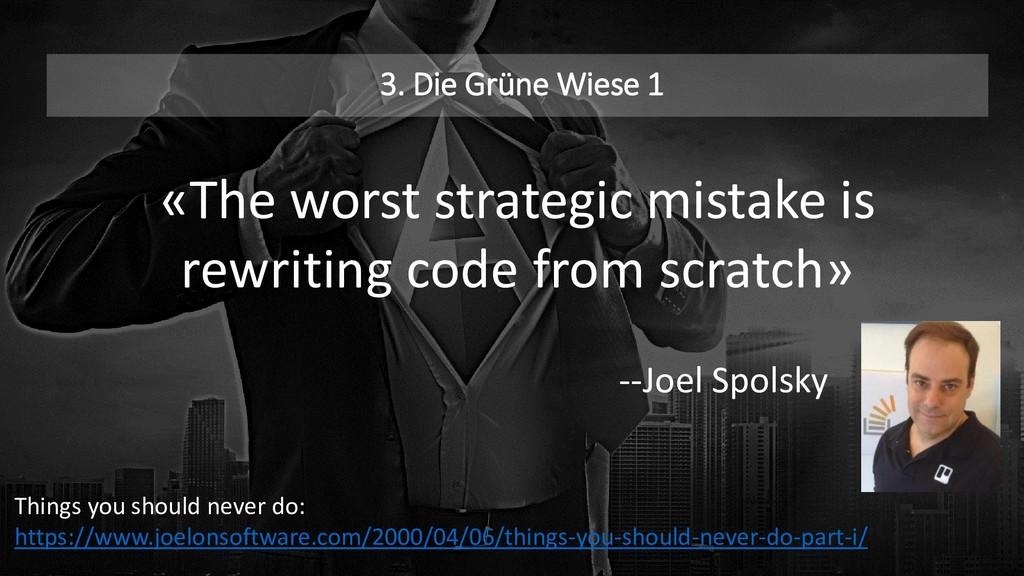 3. Die Grüne Wiese 1 «The worst strategic mista...
