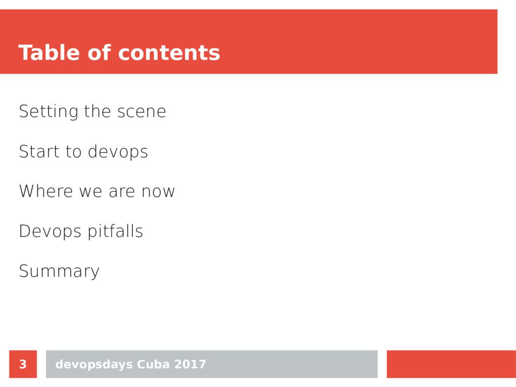devopsdays Cuba 2017 3 Table of contents Settin...