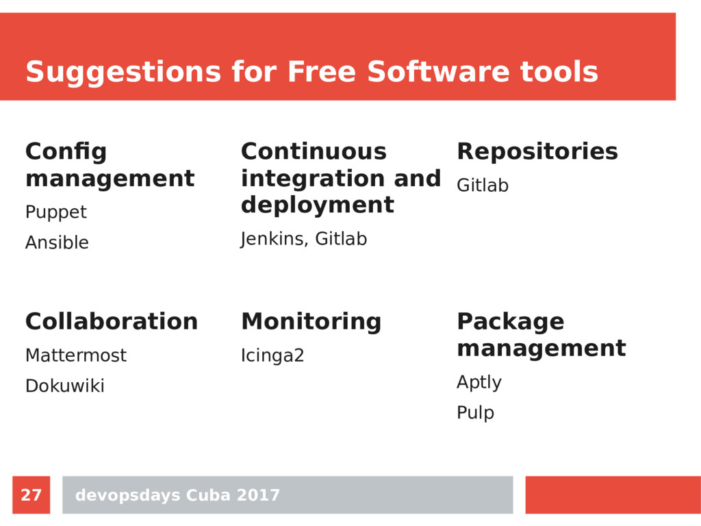devopsdays Cuba 2017 27 Suggestions for Free So...