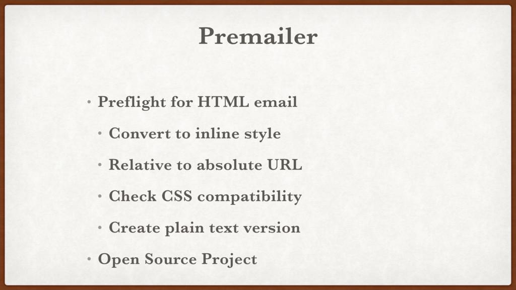 Premailer • Preflight for HTML email • Convert ...