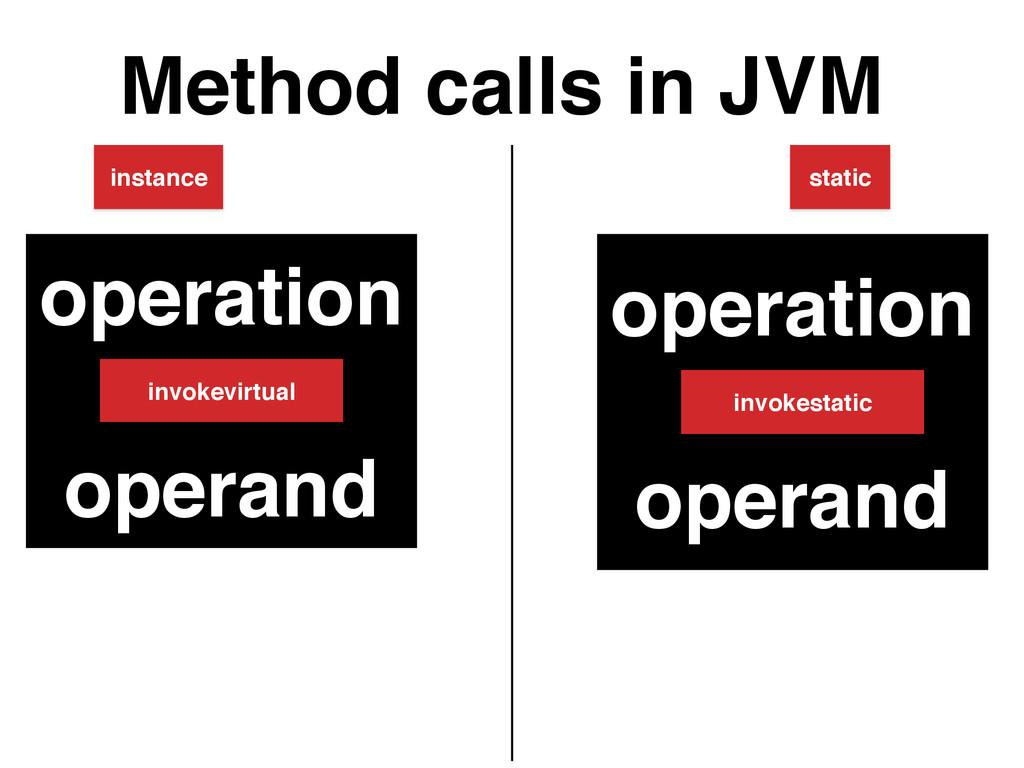 Method calls in JVM static instance operation +...