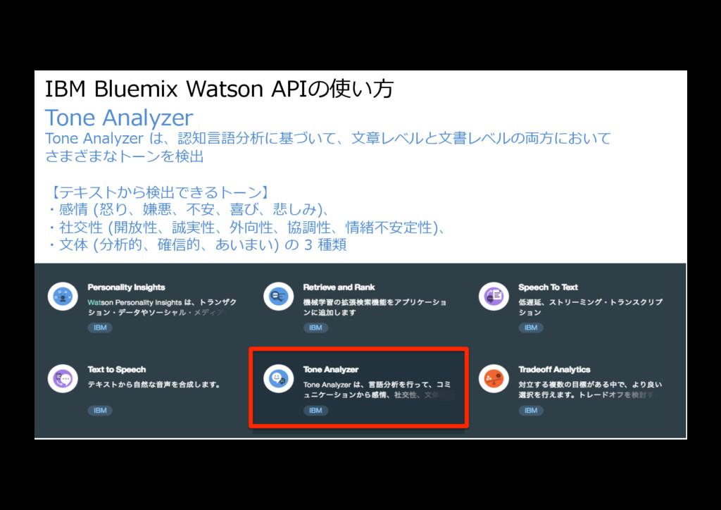 IBM Bluemix Watson APIの使い⽅ Tone Analyzer Tone A...