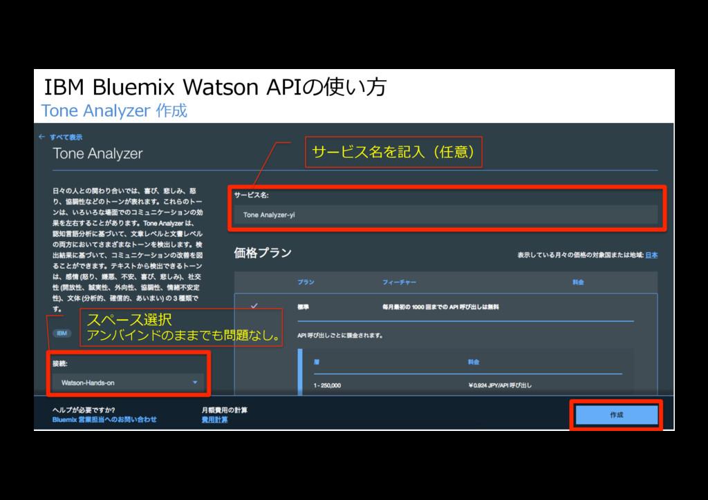 IBM Bluemix Watson APIの使い⽅ Tone Analyzer 作成 サービ...