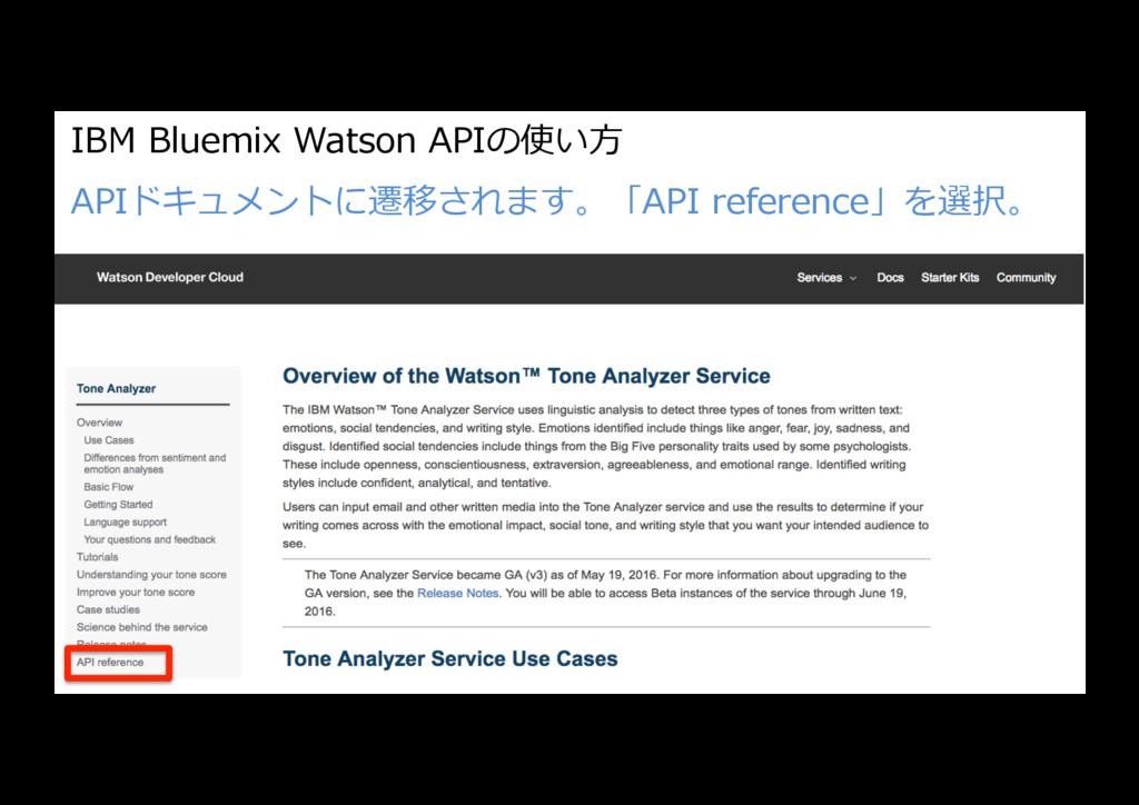 IBM Bluemix Watson APIの使い⽅ APIドキュメントに遷移されます。「AP...