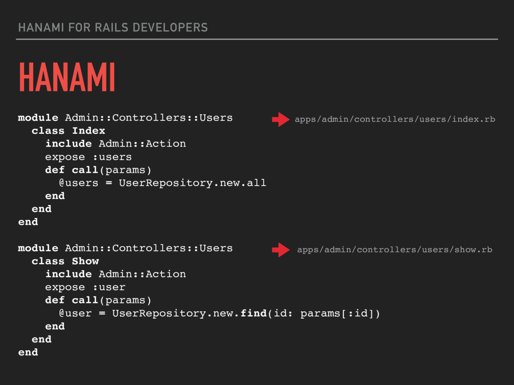 HANAMI FOR RAILS DEVELOPERS module Admin::Contr...