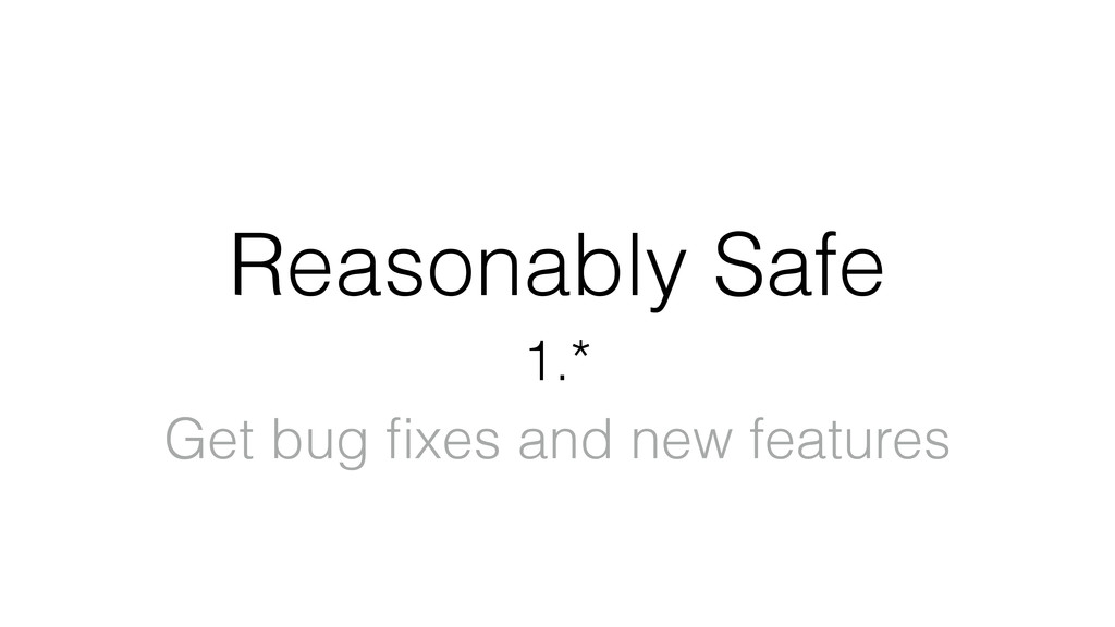 Reasonably Safe 1.* Get bug fixes and new featur...