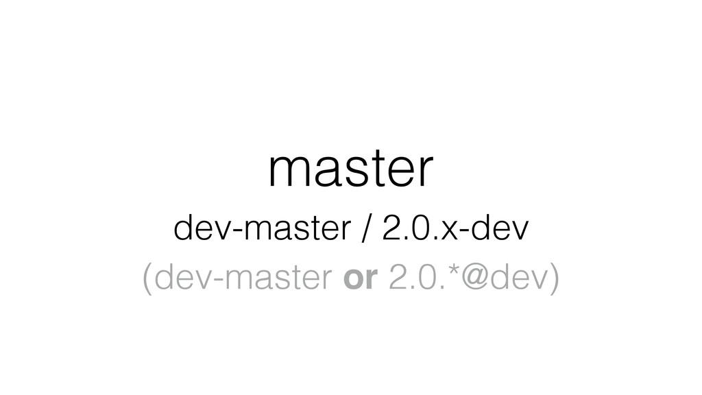 master dev-master / 2.0.x-dev (dev-master or 2....