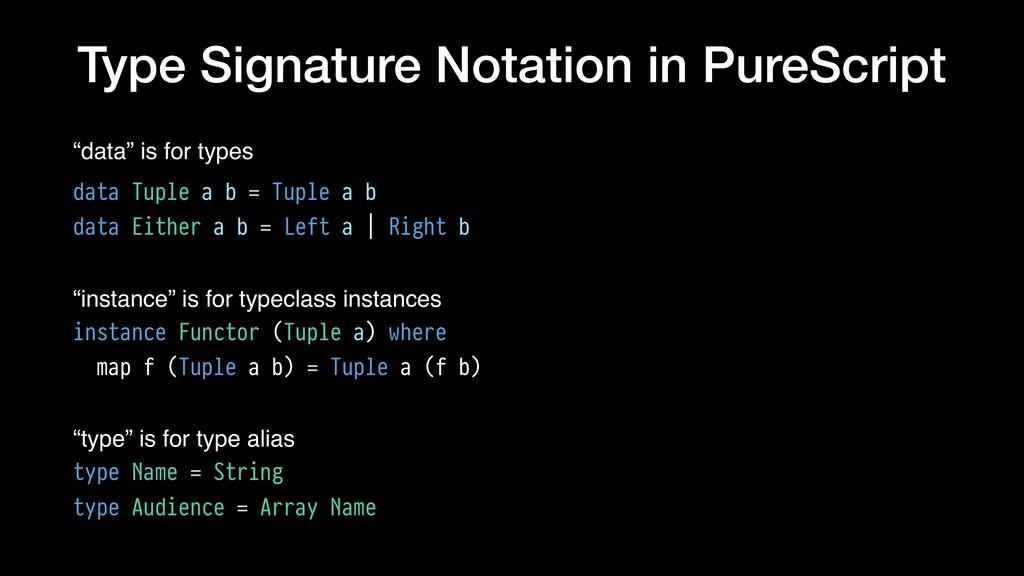 "Type Signature Notation in PureScript ""data"" is..."
