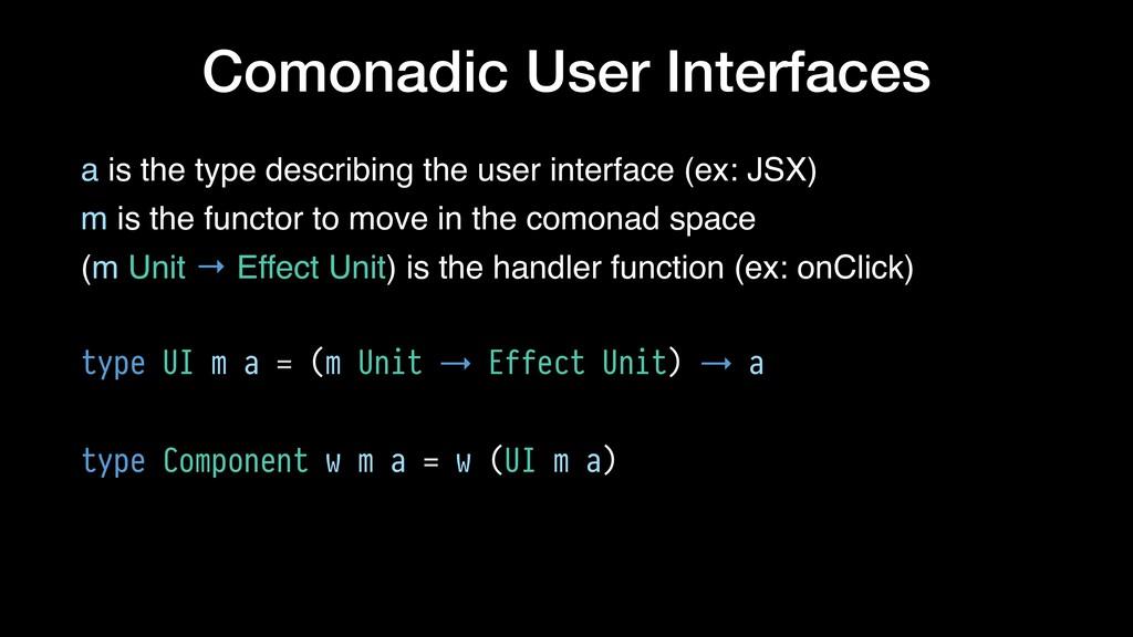 Comonadic User Interfaces a is the type describ...