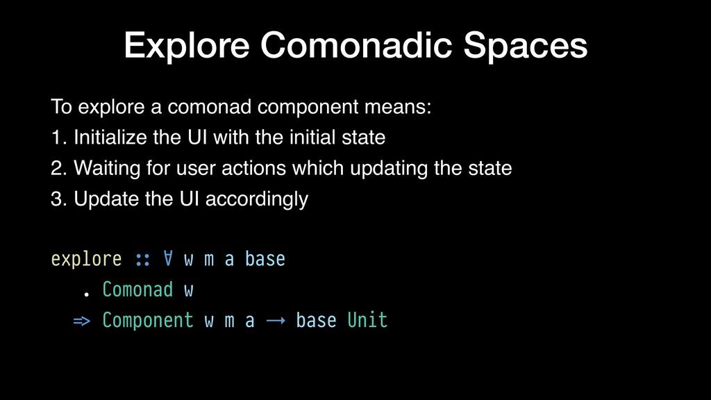 Explore Comonadic Spaces To explore a comonad c...