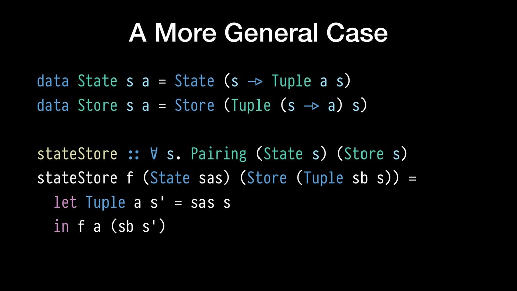 A More General Case data State s a = State (s !...