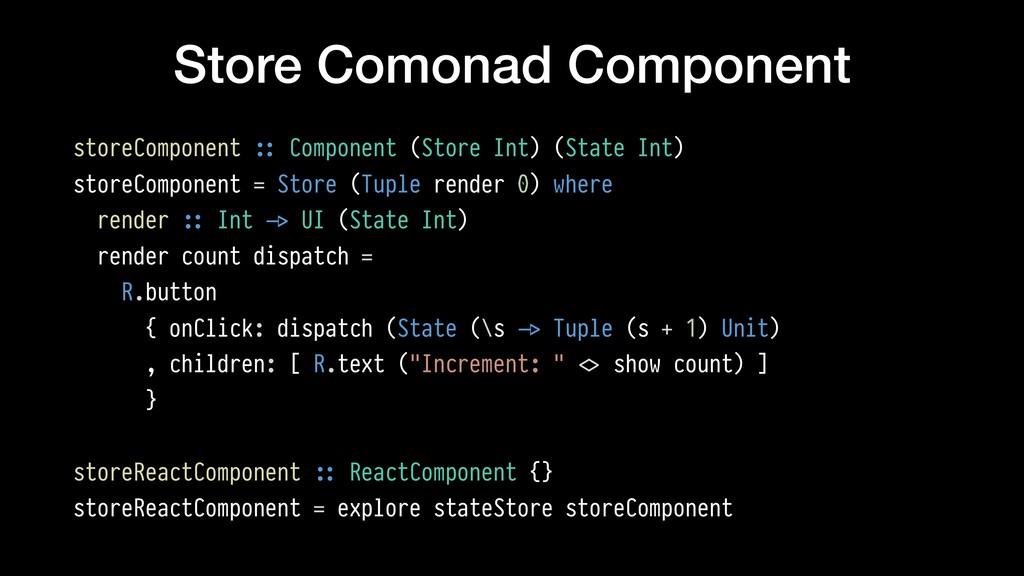 Store Comonad Component storeComponent !:: Comp...