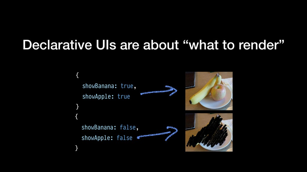 """Declarative UIs are about """"what to render"""" { sh..."""