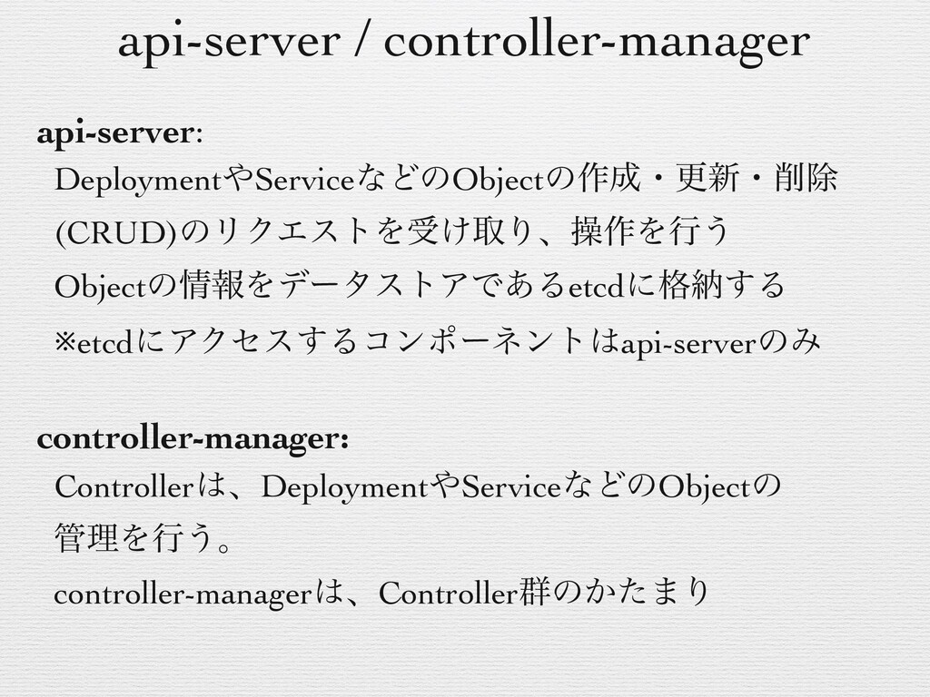 api-server / controller-manager api-server: Dep...