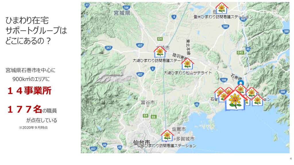 ひまわり在宅 サポートグループは どこにあるの? 宮城県石巻市を中心に 900k㎡のエリアに ...
