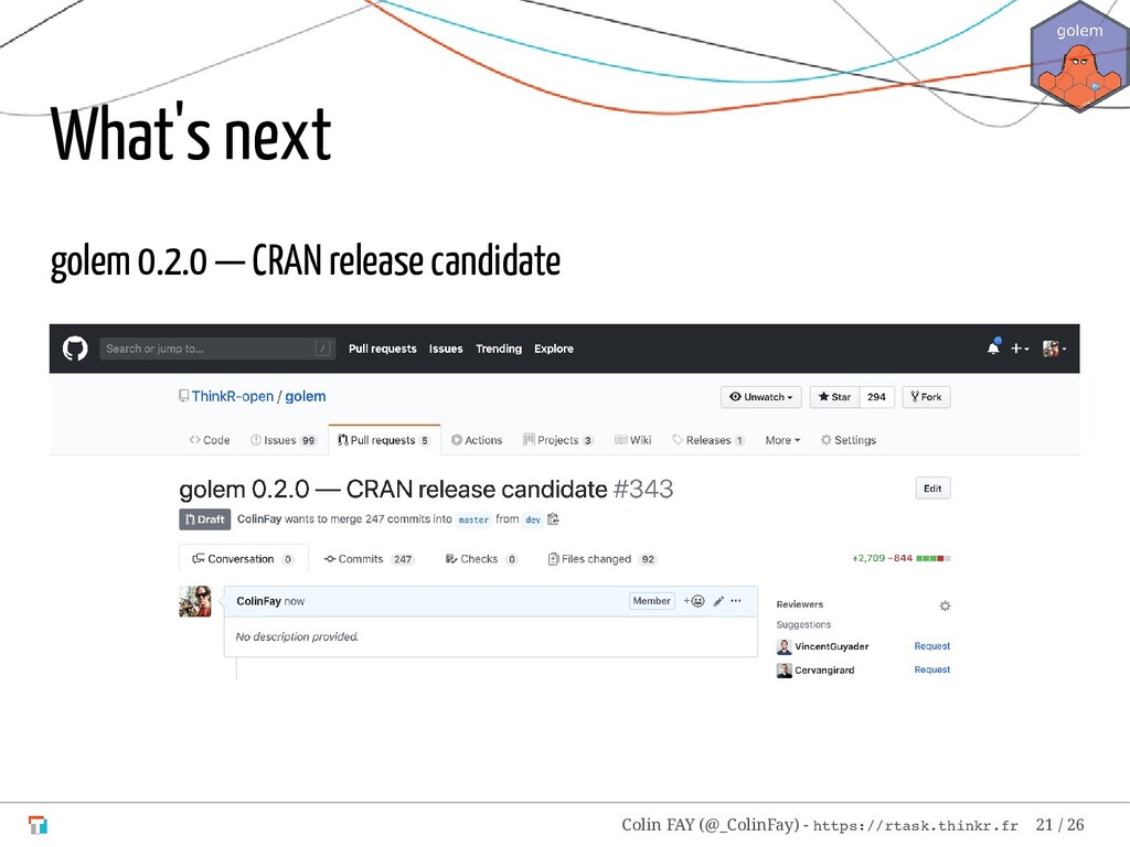What's next golem 0.2.0 — CRAN release candidat...