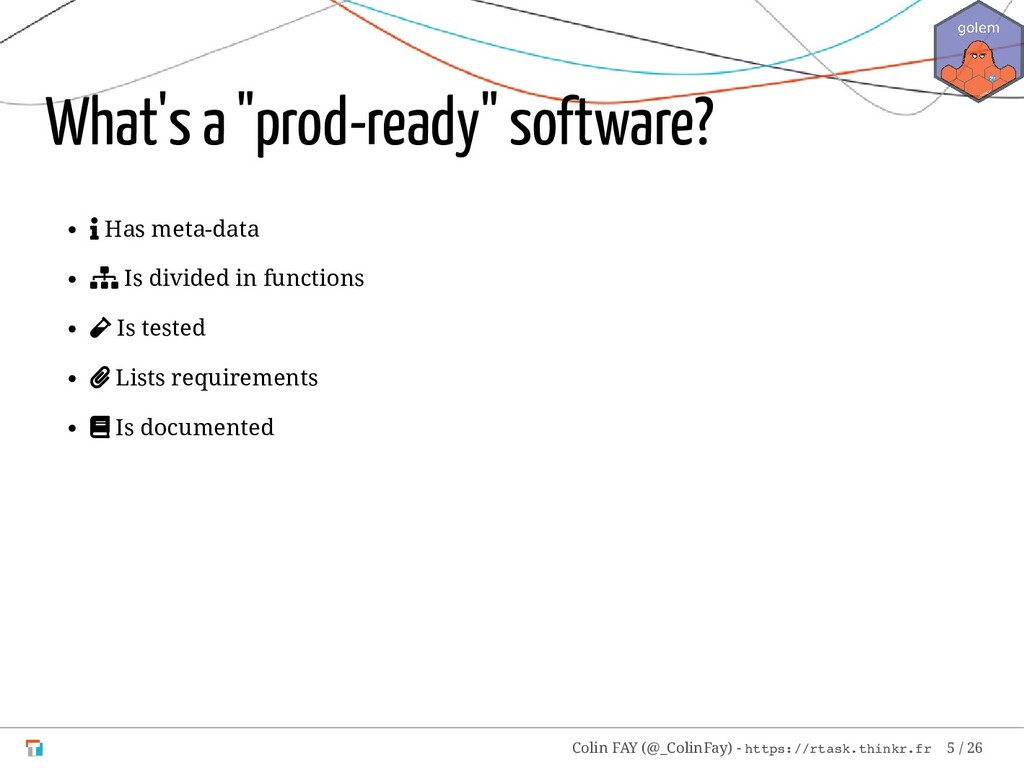"What's a ""prod-ready"" software?  Has meta-data..."