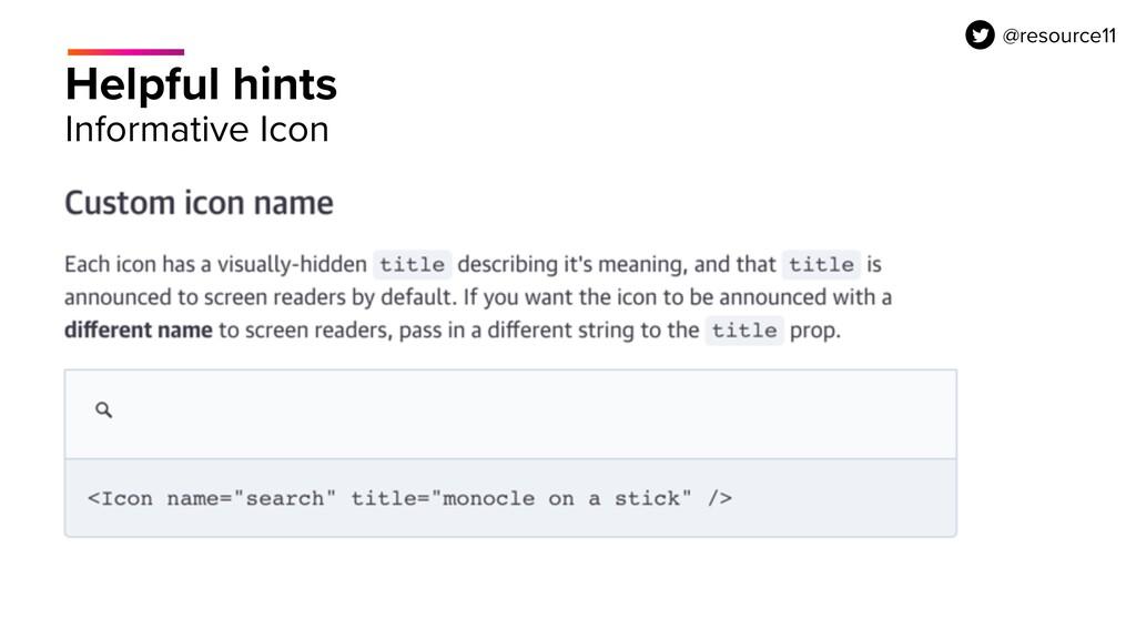 Helpful hints Informative Icon @resource11