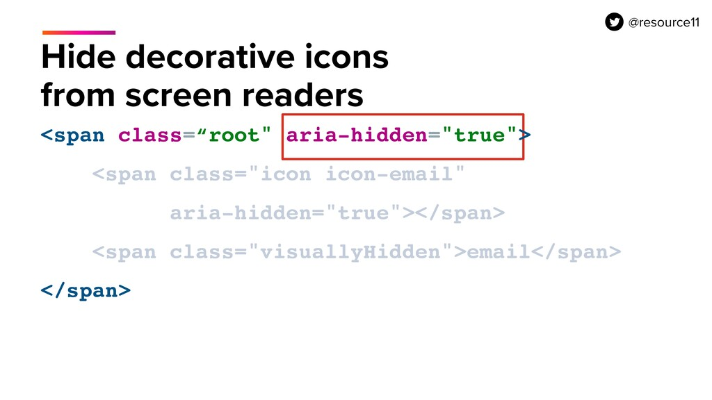 Hide decorative icons from screen readers <span...