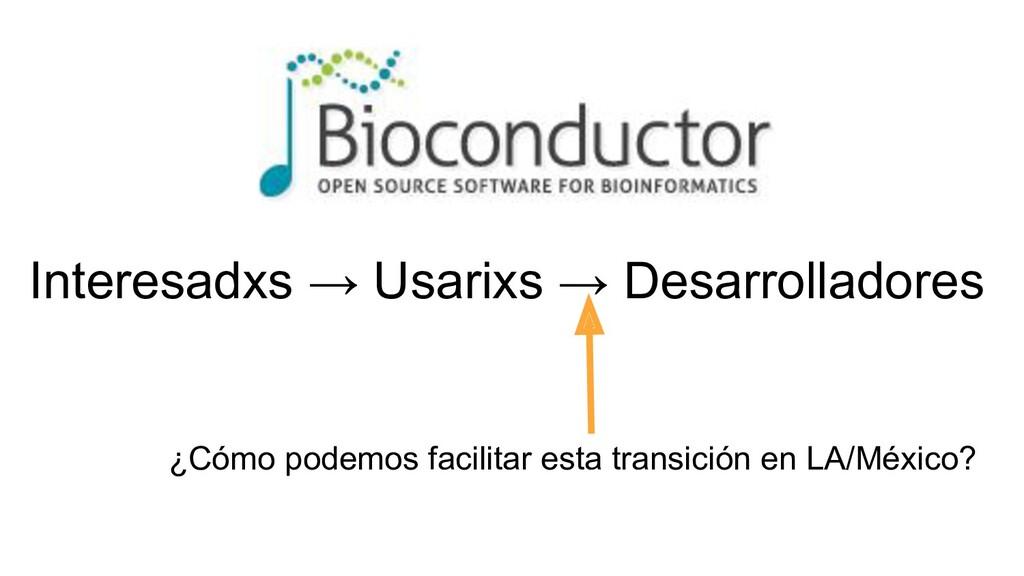 Interesadxs → Usarixs → Desarrolladores ¿Cómo p...