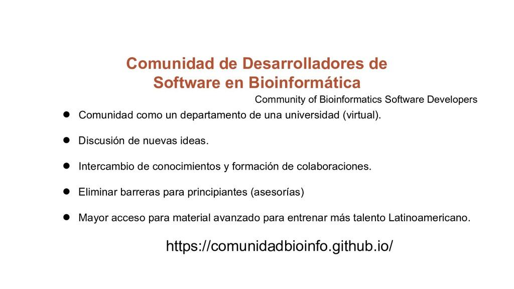 Comunidad de Desarrolladores de Software en Bio...