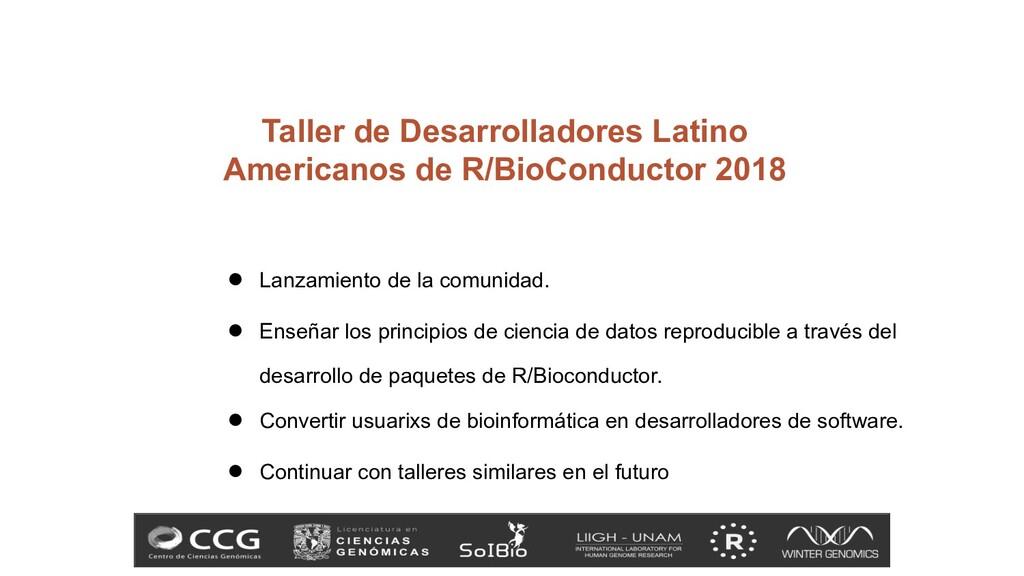 Taller de Desarrolladores Latino Americanos de ...