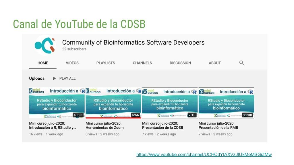 Canal de YouTube de la CDSB https://www.youtube...