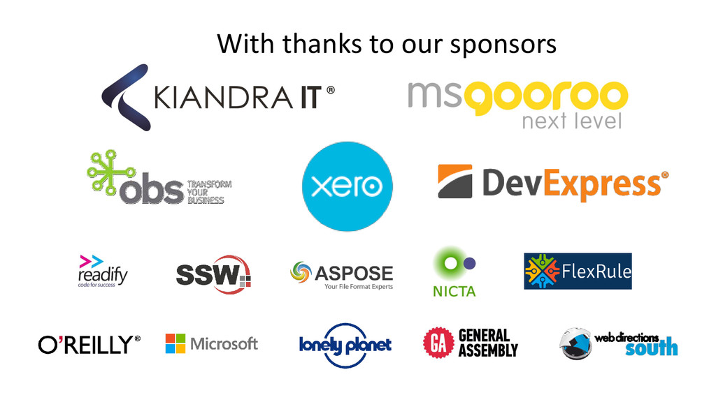 With thanks to our sponsors