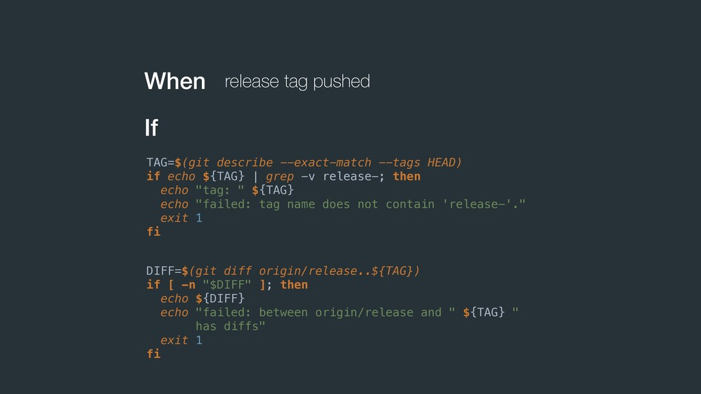 When release tag pushed If TAG=$(git describe -...