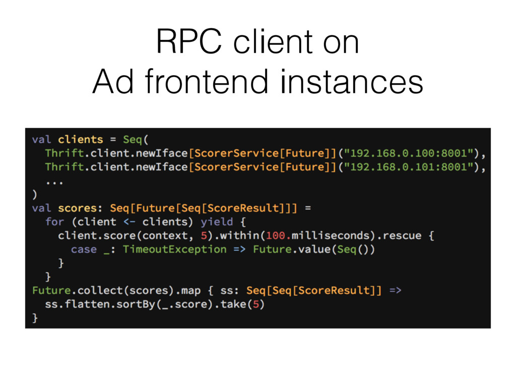 RPC client on Ad frontend instances