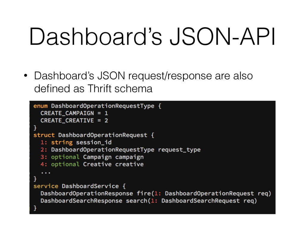 Dashboard's JSON-API • Dashboard's JSON request...