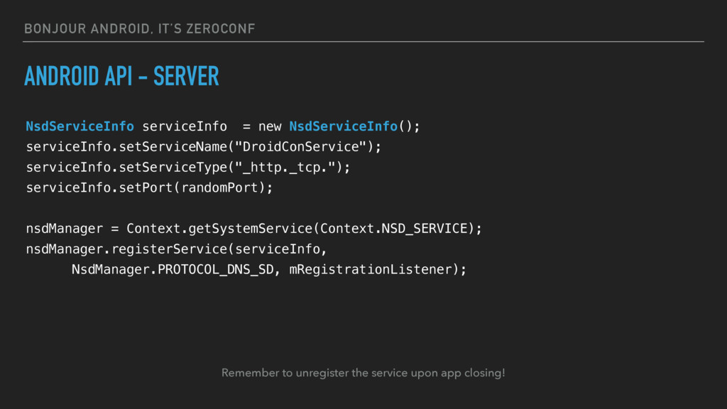 BONJOUR ANDROID, IT'S ZEROCONF ANDROID API - SE...