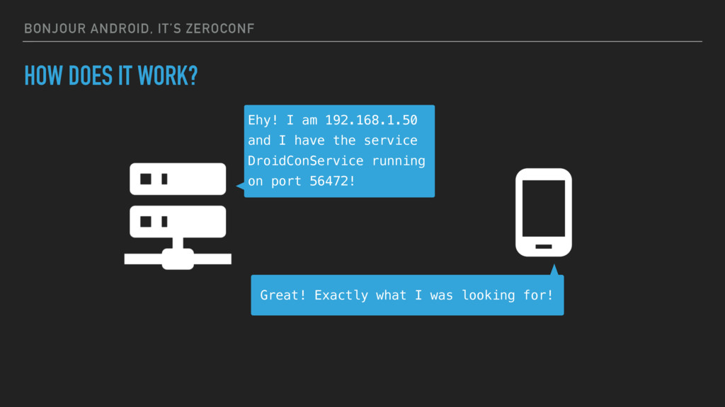 BONJOUR ANDROID, IT'S ZEROCONF HOW DOES IT WORK...
